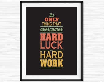 Work Hard Quote Office Wall Art Motivational Wall Decor Inspirational Canvas Quotes Motivational Print Printable Sayings for Office Quotes