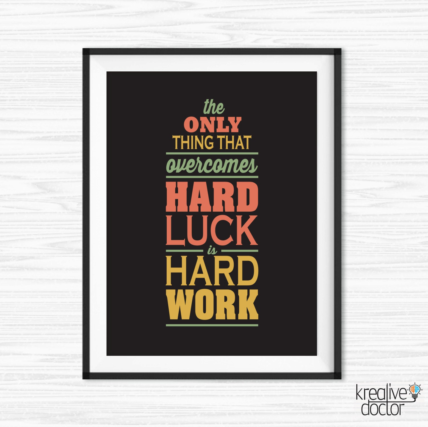 work hard quote office wall art motivational wall decor. Black Bedroom Furniture Sets. Home Design Ideas