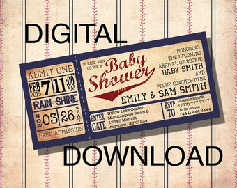 DOWNLOAD CUSTOM Vintage Baseball Baby Shower Invitations - Personalized / Digital file - Print It Yourself - diy