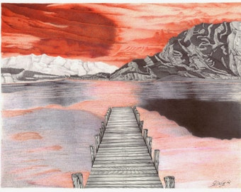 Sunset at the Dock INK DRAWING; Original, Print, Giclee, Landscape, Vacation, Color, Water, Lake, Mountains, Art Nouveau