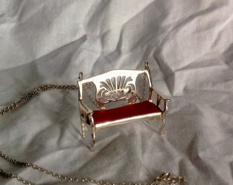 Silver miniature sofa pendant