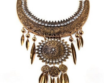 Vintage Gold Sunflower Statement Necklace (preorder)