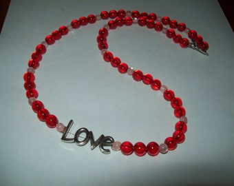 """Red necklace, bead necklace, red beads, """"Love"""", valentine, acrylic beads"""