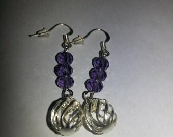 Purple earrings, purple bead, silver earrings, purple and silver earrings