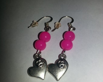 Hot pink beads, heart earrings, love, loveheart, valentine