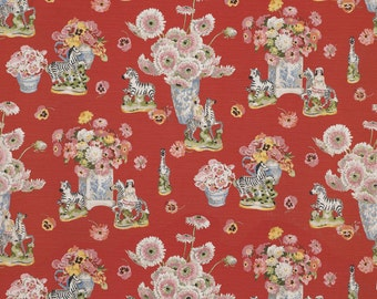 BRUNSCHWIG & FILS Gillian's Zebra Toile Fabric 10 Yards Red Blue Rose Multi