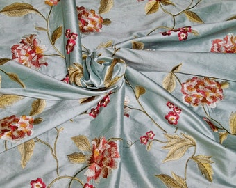 SILK LOOM GALEENA Embroidered Floral Silk Fabric 10 Yards Blue Multi