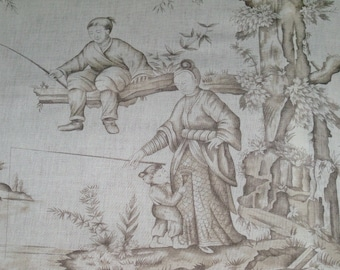 SCHUMACHER CHINOISERIE ASIAN Cathay Cotton Linen Toile Linen Fabric 10 yards Driftwood