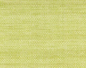 SCHUMACHER CHEVRON ZIG Zag Hand Spun Raw Silk Fabric 10 yards Lime Cream