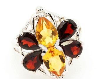 Garnet & Citrine Ring. 925 Silver. US Size 6. TMPL_SKU002505