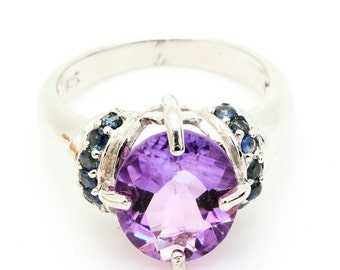 Amethyst & Sapphire Ring. 925 Silver. Size 6.5. TMPL_SKU001179