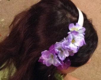 Wedding hairband purple flowers hairpiece, bridesmaids, flower girl bridal headband