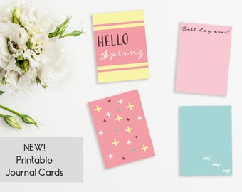 4 Printable Journal Cards - Hello Spring! Set I