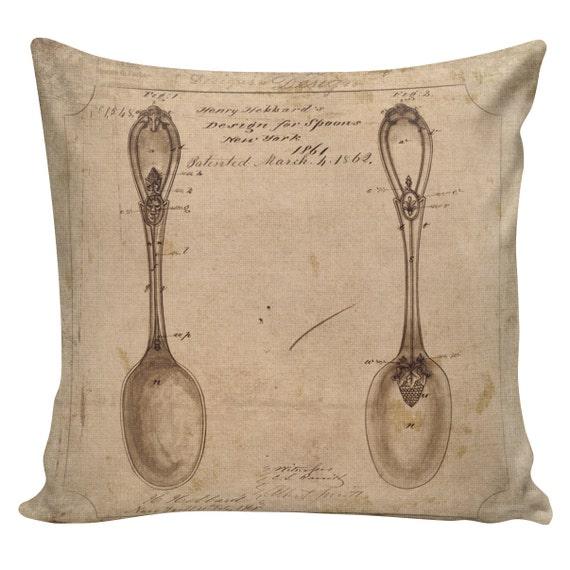 Decorative Pillows Restoration Hardware : Items similar to Decorative Cotton Pillow Cover Cushion Old Spoon Patent Restoration Hardware ...