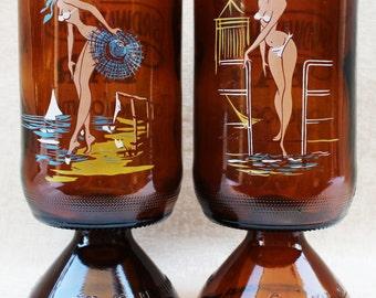 Pair of Birdwatchers Bar Bikini Girl Beerglasses c. 1960s