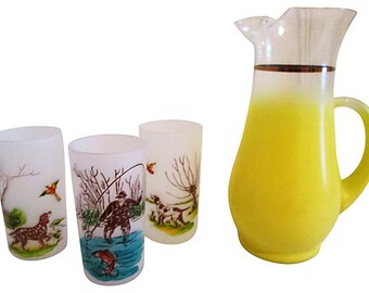 1960s Yellow Fade Pitcher w/ 3 Glasses