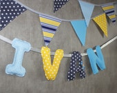 Baby Boy's Name Wall Hanging, Name Art Nursery, Fabric Letter Banner, Baby Name Wall Art, Bunting Letters