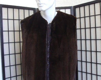Refurbished new brown sheared dark ranch mink fur vest men man woman women size all custom made