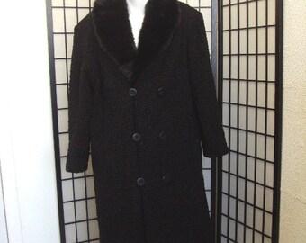 Refurbished new black persian lamb astrakan & mink fur coat for men man size all custom made