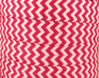 "5/8"" inch - Hot Pink and White Chevron - Fold Over Elastic FOE for Headband DIY per yard"