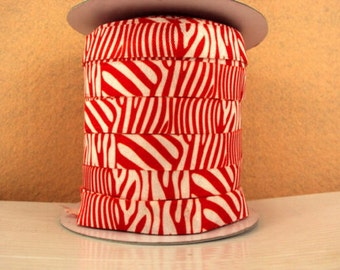 5/8 inch - Red Zebra on White - Fold Over Elastic FOE for Headband