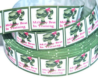 1 inch - Military Brat in Training - Camouflage Printed Grosgrain Ribbon for Hair Bow