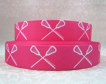 7/8 inch - LACROSSE - White on hot Pink  SPORTS - Printed Grosgrain Ribbon for Hair Bow