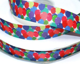 1 inch BALLOONS All Over - Printed Grosgrain Ribbon for Hair Bow