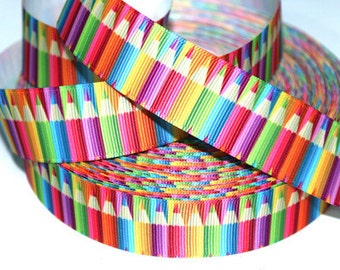 1 inch COLORFUL MAP COLORS - Pencils - Back to School - Printed Grosgrain Ribbon or Hair Bow