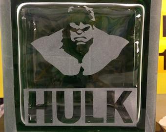 Incredible Hulk glass block