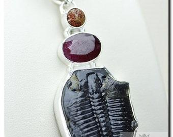 Utah ELRATHIA KINGII TRILOBITE Ruby Coral 925 Solid Sterling Silver Pendant + Free Worldwide Shipping P1934