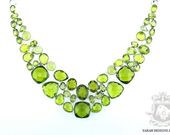Blast of Green! BRIOLETTE Cut 247 Carats Lab SIMULATED CREATED Peridot 925 Solid Sterling Silver Necklace n316