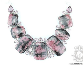 NEVADA Mined Prime QUALITY Top Graded RHODONITE 925 Solid Sterling Silver Necklace n324