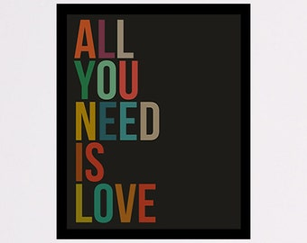 All You Need is Love, printable wall art decor poster, digital poster instant download, love quote gift, love quote