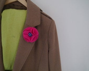 Cute Felt Flower Button Brooch - Various Colours!