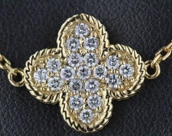 0.79CT F VS2 Designer Clover Leaf Necklace