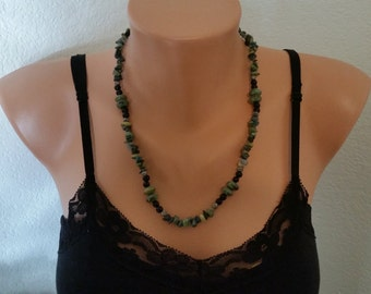 Glass and stone bead necklace