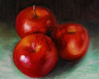 Three Apples - Original Oil on Canvas Painting. Art, colorful, kitchen, gift idea, home, decoration, still life, wall art, red, fruit