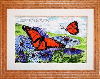 Pen and Ink framed Monarch Butterfly