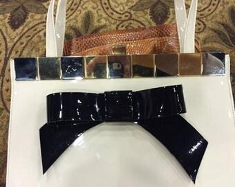 ivory Vintage Purse with Black Handmade Bow!