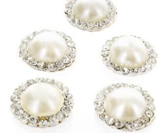 3 Pcs - Large Pearl w/ Rhinestones Embellishment Center - Ivory