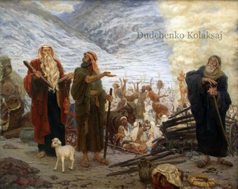 """Painting, Oil Painting """"Exodus"""". The biblical story."""