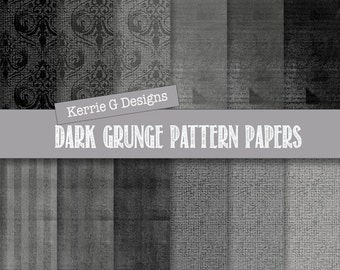 Commercial Use dark grunge patterned paper Downloadable scrapbook paper, digital patterned paper, commercial use shades of  grey  paper