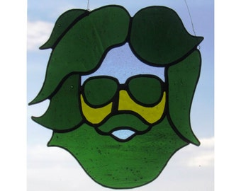 Jerry Garcia Grateful Dead Stained Glass Suncatcher - by Northwind Glass