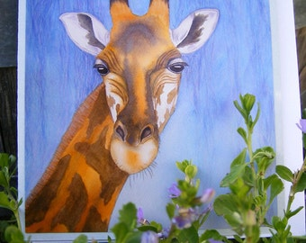 Giraffe gift card, blank inside with envelope. Photo reproduction of original watercolour painting.