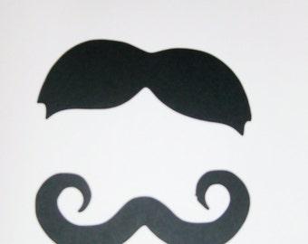 """100 Black cardstock mustaches 3.5"""" moustaches party favors mustache (3001M)"""