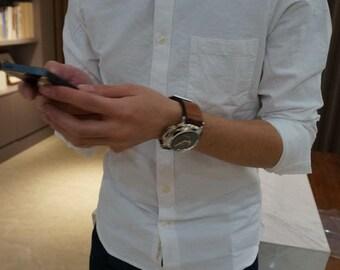 BuFan Studio Handmade men's long-sleeved cotton oxford shirt