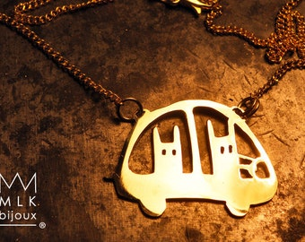 Necklace 'rabbit in car'