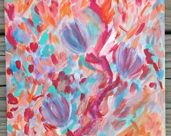 8x10 original, abstract floral, acrylic painting on canvas