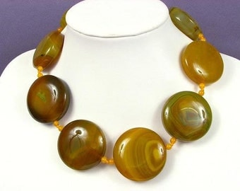 Necklace Yellow Green Agate 38mm Flat Round Coin 925 NSAY4105